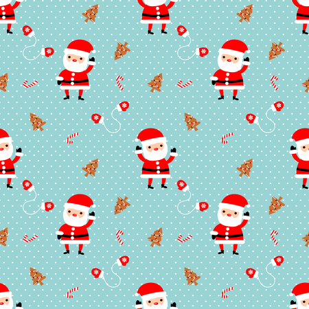 Cute Santa claus and Christmas cookies seamless pattern.
