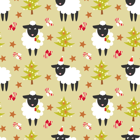 Cute black sheep and Christmas trees seamless pattern.