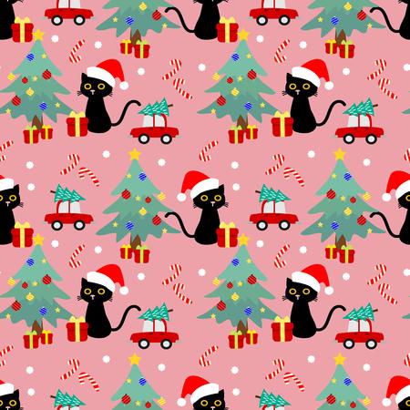 Nette Katze und nahtloses Weihnachtsmuster. Nettes Tier im Weihnachtsthema.