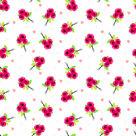 Cute sweet rose and tiny heart seamless pattern.