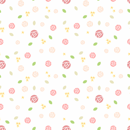 Cute rose and tiny flower seamless pattern. Illustration