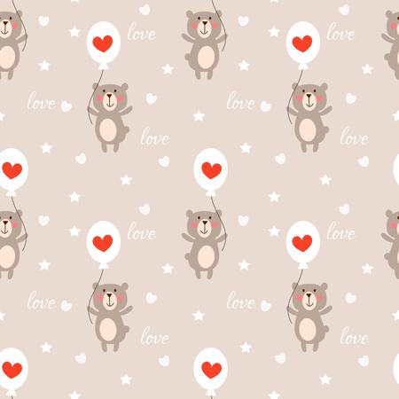 Cute bear and heart balloon seamless pattern.