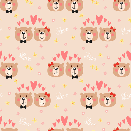 Cute couple bear seamless pattern. Lovely animal in Valentine concept.