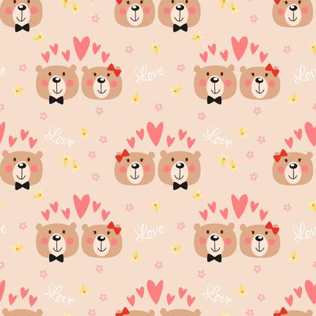 Modello senza cuciture dell'orso di coppia carina. Animale adorabile nel concetto di San Valentino.
