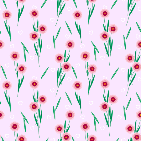 Sweet flower and tiny heart seamless pattern.