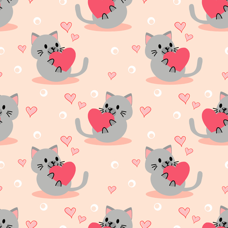 Cute kitten and pink heart seamless pattern. Lovely pet in Valentine concept.