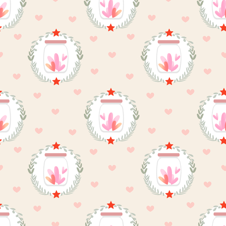 Tiny heart in bottle seamless pattern for Valentines day. Illustration