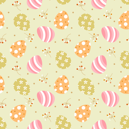 Cute easter eggs on pastel green color background. Seamless pattern vector of easter egg abd tiny flowers.