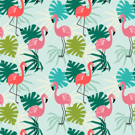 Flamingo and tropical leaves seamless pattern. Cute animal in tropical concept. Ilustracje wektorowe