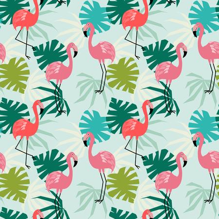 Flamingo et feuilles tropicales modèle sans couture. Animal mignon dans le concept tropical. Vecteurs