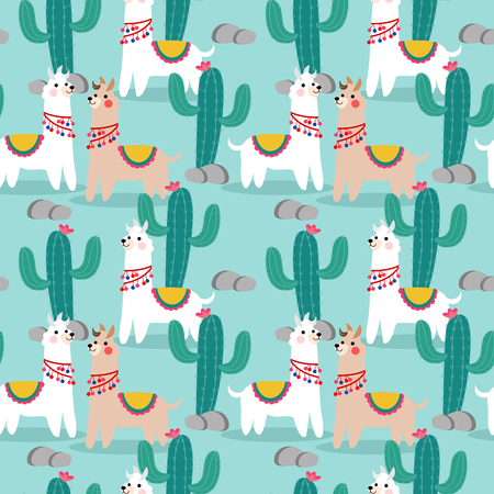 Cute happy llama and cactus seamless pattern. Lovely animal concept.