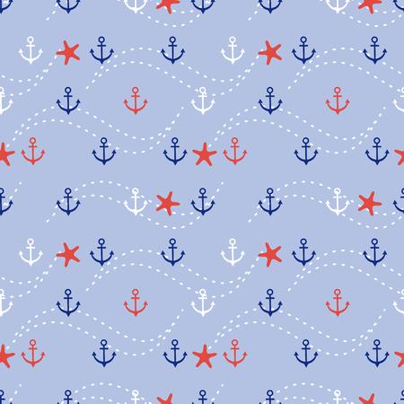 Ancla marina y estrellas de mar de patrones sin fisuras.