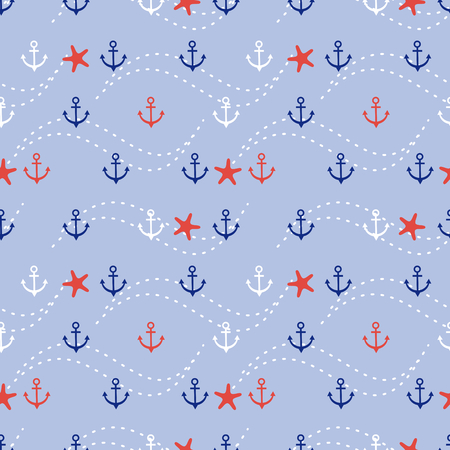 Marine anchor and star fish seamless pattern.
