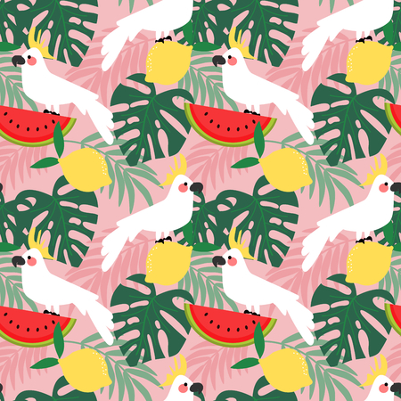 Cockatoo in tropical forest seamless pattern.