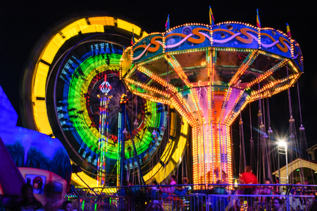 rides: Night Festival and amusement rides Editorial