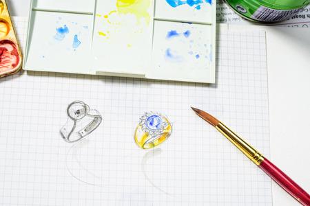 bijoux dessin Jewelry design watercolor sketch on the white paper