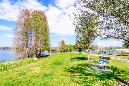 sooth: Lake Park in Florida in the spring on the blue sky background