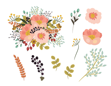 Digital hand drawn on Peonies,Berries,Silver Dollar Eucalyptus,Dandelion,flower bouquet arranging elements for any occasion card design or print. Vektorové ilustrace