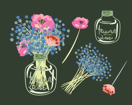mason: Flowers in Mason Jar.Digital hand draw Peonies Illustration