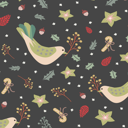 Digital hand drawn of festive motifs for Merry Christmas surface pattern