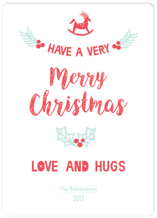 love very: Hand drawn of HAVE A VERY MERRY CHRISTMAS,LOVE AND HUGS card.Berries,pines and reindeer vectors.