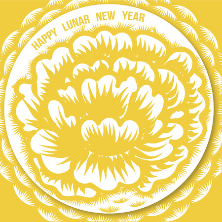 Whimsical Hand drawn of Chrysanthemum flower paper cutting for Chinese Lunar New Year.