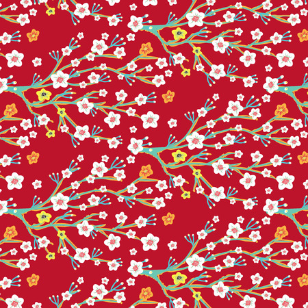 Cherry Blossom Blooming surface pattern background in spring season in Japan,China,Asia for Lunar New Year celebration.