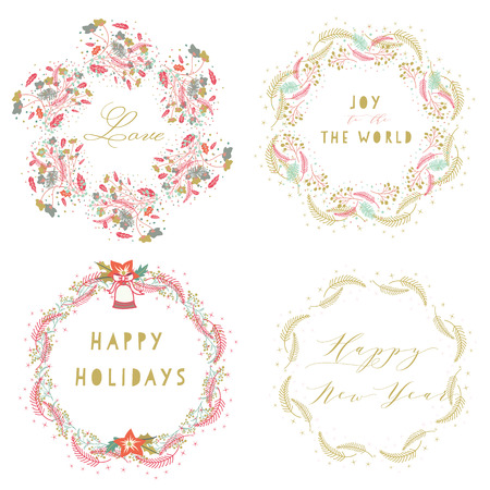 pine wreaths: Whimsical hand drawn of celebration wreaths for happy holidays,happy new year,love and joy to the world. Illustration
