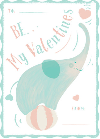 Kid illustration and Adorable hand drawn of playful elephant on the circus ball and heart with the texture for Valentines greeting card or wallpaper. Stock fotó