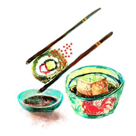 Isoliert Aquarell Sushi und japanische Lebensmittel Malerei auf weißem Hintergrund Standard-Bild - 73682803