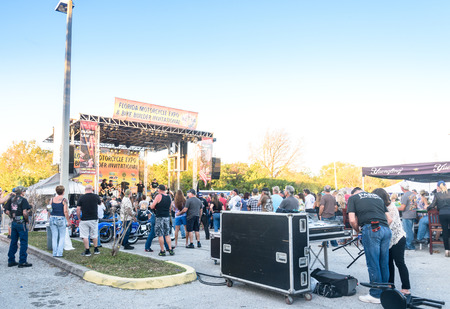Clearwater,FL-FEB 19,2017;Undentified people and bikers gathering at live music performances,on the Florida Motorcycle Expo and Bike Builder Invitational on 49th St.N.,Clearwater FL-Feb19th,2017