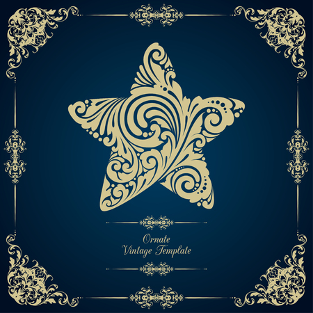 starfall: Vintage template with ornamental decorative frame and star Illustration