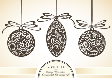decorative line: Vector set of vintage ornamental objects and Christmas decor