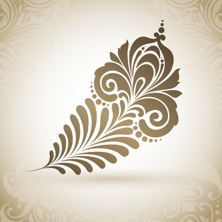 Vector magic exotic feather with ornamental patterns Illustration