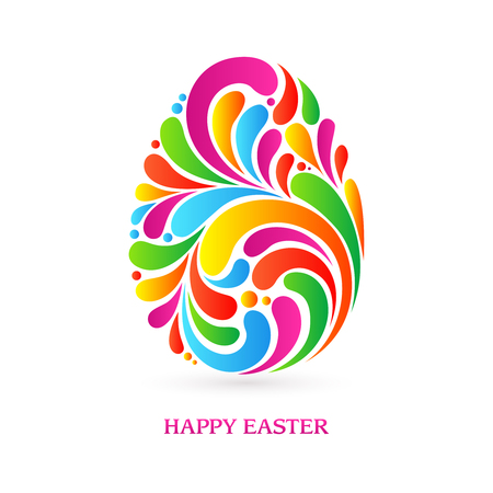 splash abstract: Colorful splash abstract decorative ornate Easter egg isolated on white background. Happy Easter. Vector illustration. Design invitation, banner, greeting card