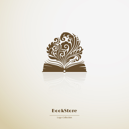 opened book: bookstore. Ornate opened book icon. Vector illustration