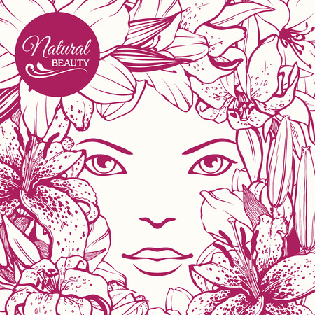 natural face: Girl face Floral background. Natural cosmetic spa care for skin beauty design