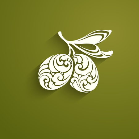 Decorative ornamental green olives with a leaf on branch icon label olives
