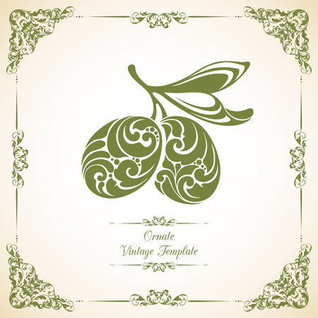 twirl: Template with  decorative frame and ornate green olives with a leaf on branch  icon label olives Illustration