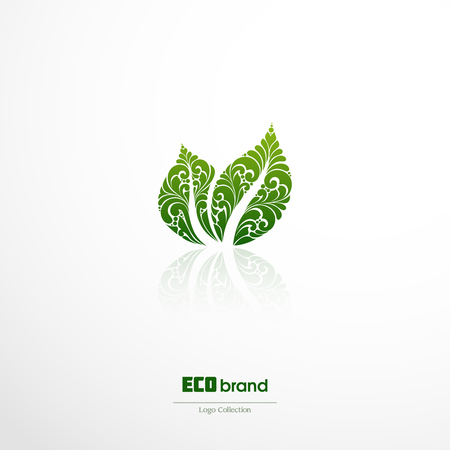 reversed: green leaf nature vector design. Ornate green leaf icon