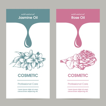 Vector set of templates packaging cosmetic, label, banner, poster, identity, branding. Stylish design with sketch illustration of jasmine and rose flower. Hair care, skin care. Essential oils. Vectores