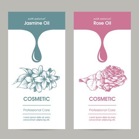 Vector set van templates verpakking cosmetische, etiket, banner, poster, identiteit, branding. Stijlvol design met schets illustratie van jasmijn en roze bloem. Haarverzorging, huidverzorging. Essentiële oliën. Stock Illustratie