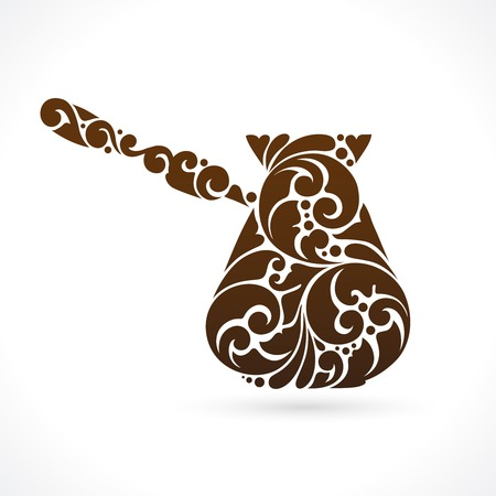steel mill: Ornamental abstract decorative Turks coffee pot illustration. Coffee pot symbol icon design element, vector Illustration, banner, poster, business sign, identity, branding