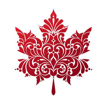Ornement feuille d'érable rouge isolé sur fond blanc. Vector illustration. Décoratif symbole feuille d'icône. drapeau canadien stylisé.