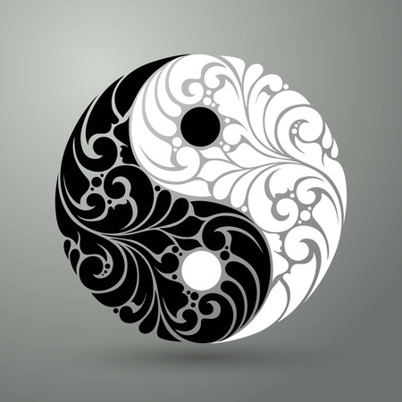 Yin Yang pattern symbol vector illustration Ornate decorative isolated symbol