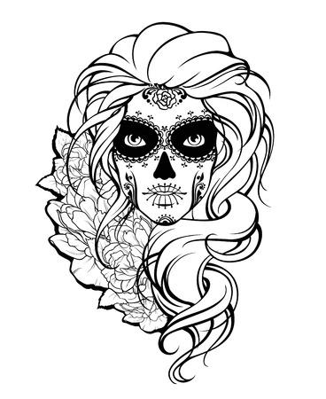 Skull girl and flowers. Black and white illustration