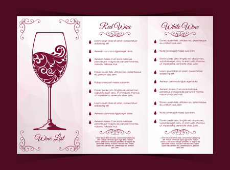 sommelier: Vector templates for wine list, menu, packaging, label, banner, poster, identity, branding. Abstract color background with ornamental design elements and ornate glass of red wine.