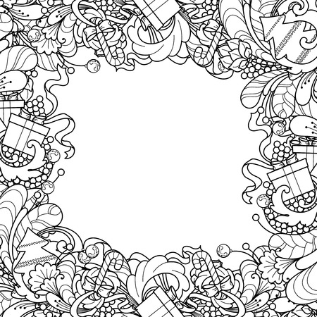 Coloring Book Page Christmas Frame With Tree Gift Box Bells In Doodle Style Floral