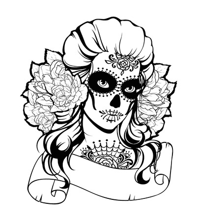 bodyart: Skull girl in a flower wreath and place for text. Black and white illustration