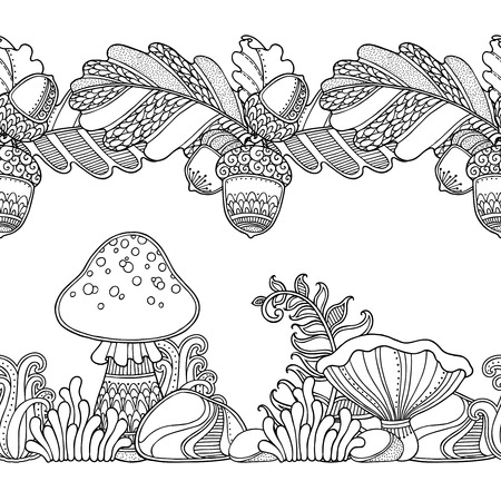 Vector Set Seamless Garden Borders In Doodle Style Floral Ornate